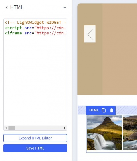 Screenshot showing our widget embed code inserted into HTML widget.