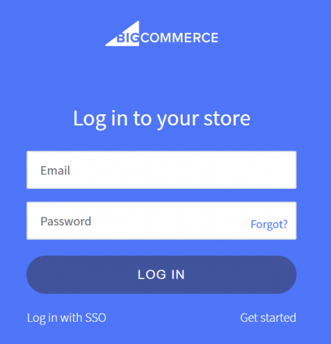 Screenshot showing BigCommerce login screen