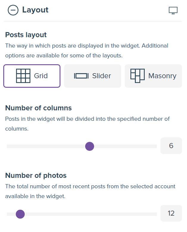 Screenshot showing widget creator form with the desktop settings.