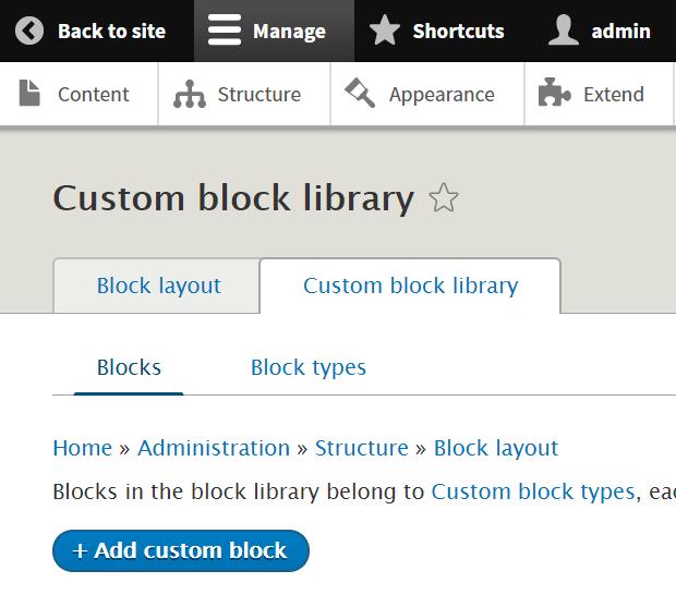 Screenshot of adding new custom block in Drupal