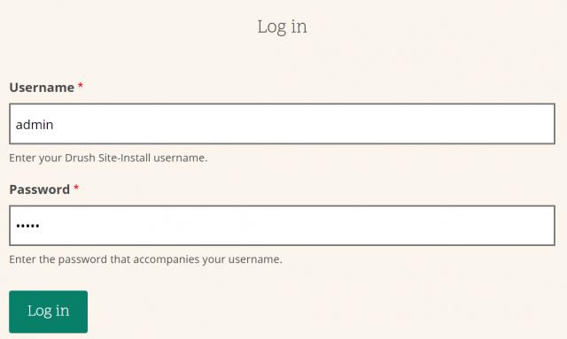 Screenshot of login panel in Drupal 8 website