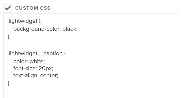 Example CSS custom code in Custom CSS textarea.