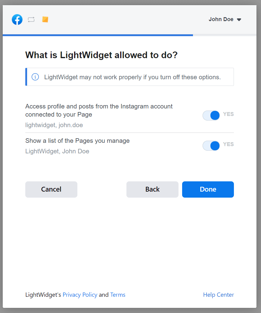 Screenshot showing the Facebook Dialog with question about permissions granted to LightWidget.