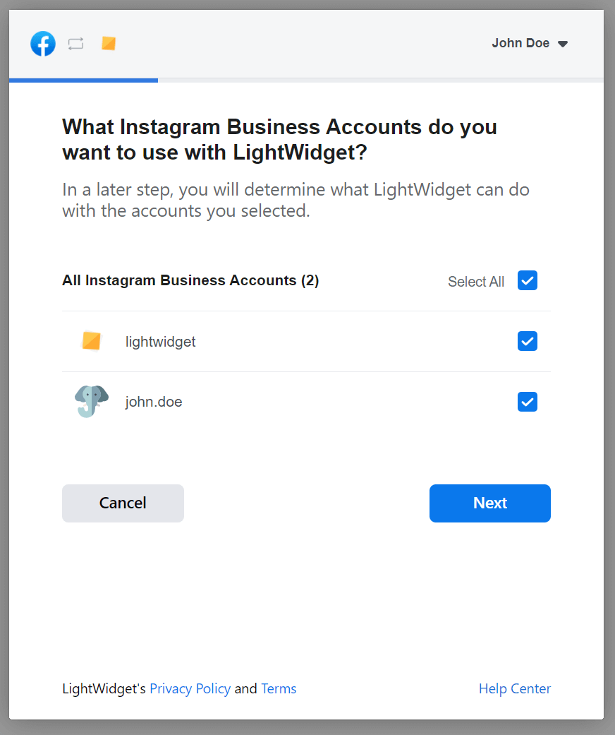 Screenshot showing Facebook modal with question about Instagram Business Accounts that should be connected with LightWidget.