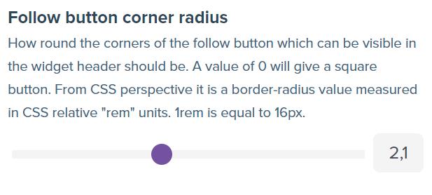 Screenshot showing follow button corner radius range slider.