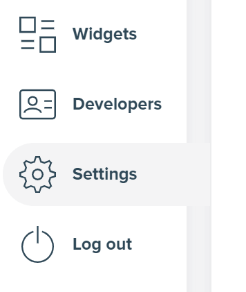 Screenshot from user panel showing selected Settings link.