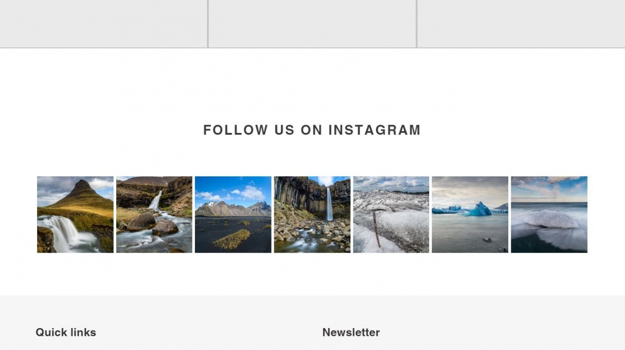 Screenshot showing how the Instagram widget looks on Shopify store.