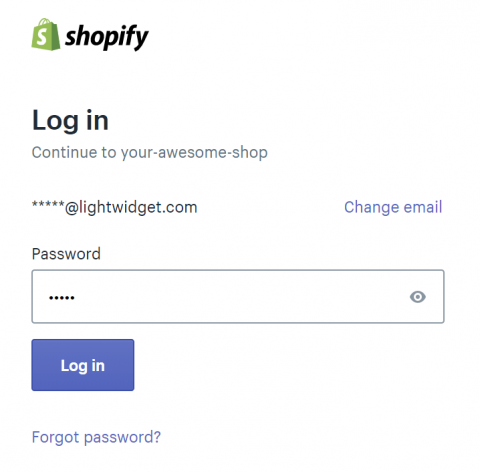 Screenshot of Shopify login screen