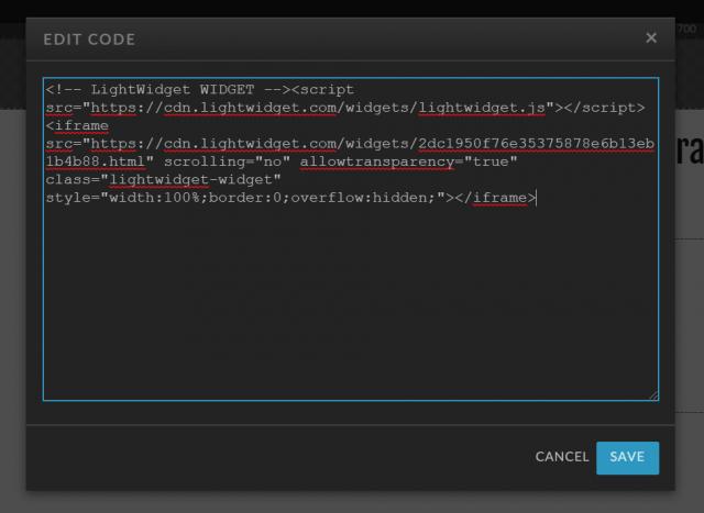 Screenshot showing edit code modal with widget embed code.