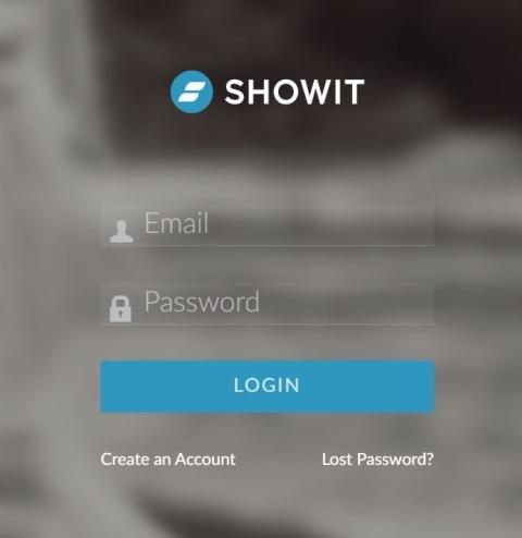 Screenshot showing login screen on Showit website.