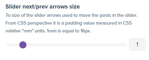 Screenshot showing slider next/prev arrow size range slider.