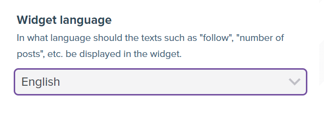 Screenshot showing the widget language selector.