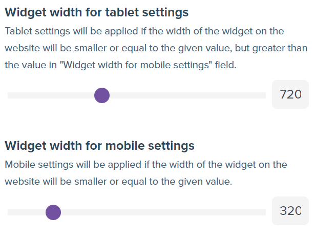 Screenshot showing advanced configuration section with widget widths options.