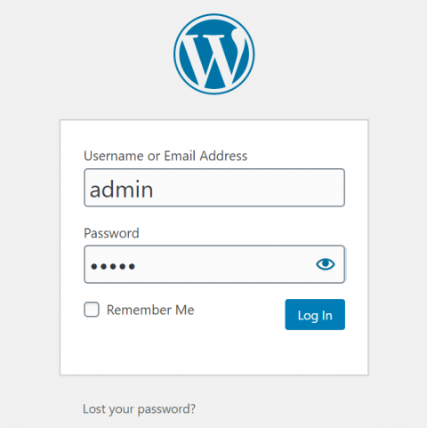 Screenshot of WordPress login panel